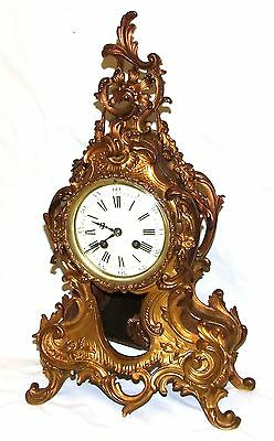 French Antique Louis XV Style Ormolu Bronze Mantel Bracket Clock c1880 2