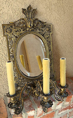 Antique French Brass Wall Sconce Light Fixture Beveled Oval Mirror Art Nouveau 3