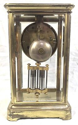 Antique French Four Glass Brass Striking Bracket Mantel Clock Japy Freres 4