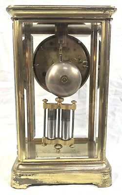 # Antique French Four Glass Brass Striking Bracket Mantel Clock Japy Freres 4