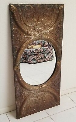 """LARGE ANTIQUE TIN CEILING DECORATION PANEL SALVAGED TO MIRROR ~ 23.5""""x48"""""""
