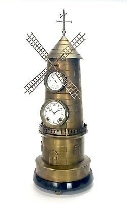 """32"""" Tall Large French Style 8 Day Brass Automaton Windmill Industrial Clock 2"""
