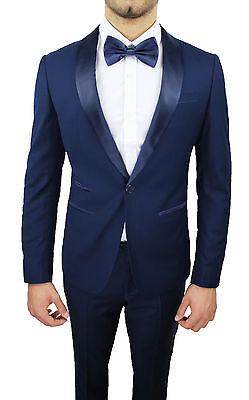 ... Abito Uomo Diamond Raso Blu Sartoriale Completo Vestito Nuovo Elegante  Cerimonia 3 115ddab6512