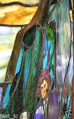 Unique Antique Stain Glass Panel Rip Van Winkle 46.25 x 40.25 inches, ca 1920's 7