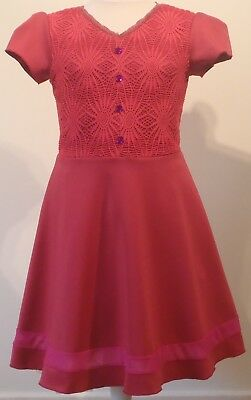 Girls teens red lace belt short sleeve knee length short dress ages 9-16 years