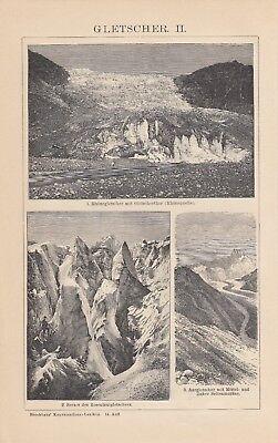 Lithografie 1898: Gletscher I/II. Firnschneefelder Gletscherthor Seitenmoränen 2