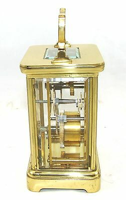ENGLISH GARRARD & CO LONDON W1 Brass Carriage Mantel Clock & Key : Working (58) 5