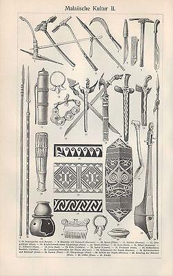 Lithografie 1906: Malaiische Kultur I/II. Asien Malaysia Werkzeug Schiffe Handwe 2