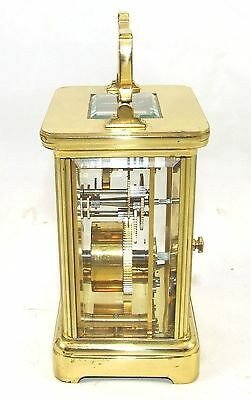 ENGLISH GARRARD & CO LONDON W1 Brass Carriage Mantel Clock & Key : Working (58) 4