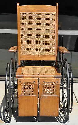 Antique Cane Back Wheelchair Oak Metal Three Wheel Chair Old 520 C Adjustable 3