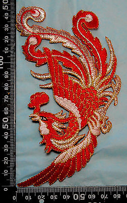 Red Phoenix Embroidered Motif Iron On Patch Chinese Oriental clothes garments