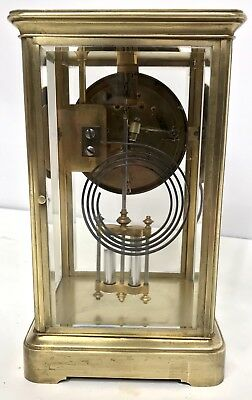 Antique Four Glass Brass Striking Bracket Mantel Clock Brass Japy Freres 6