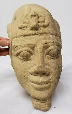 Antique Egyptian Style Carved Pharoah Head Sandstone Ancient Alien Antiquity 2