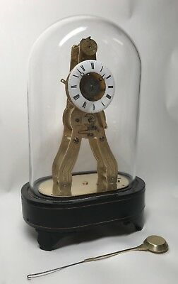 Pretty Miniature Scissor Frame Skeleton Clock With Alarm & Glass Dome Circa 1860 3