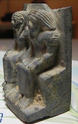 ZURQIEH -as12646- ANCIENT EGYPT, LAPIS LAZULI FIGURE OF A MAN & WIFE. 1400 B.C 2