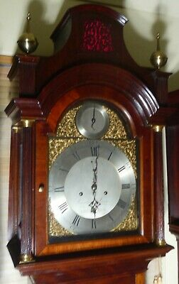 "Antique  Mahogany  "" London ""  Pagoda Hood   Longcase / Grandfather Clock 5"
