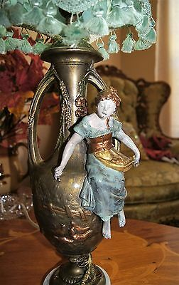 Antique Victorian Figural Peasant Girl  Lamp Chandelier Signed F. Morua France 2