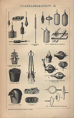 Lithografie 1902: GLASFABRIKATION. Schmelzöfen Formgebung Glas Glasindustrie 2