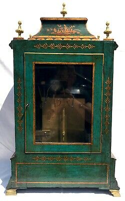 Antique Chinoiserie Green Laquered Triple Fusee Bracket Clock Chiming On 8 Bells 6