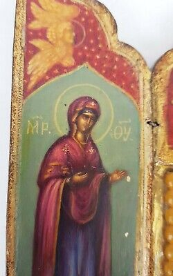 Antique 19th C Russian Hand Painted Wood Icon Triptych (Deesis Row) 7