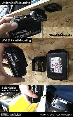 5x BATTERY MOUNTS for MAKITA 18v Storage Shelf Rack Stand Holder Slots Van Case 8