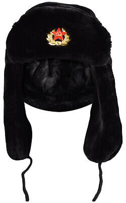 Russian Trapper Hat black With Soviet Badge Faux Fur Ushanka Cossack Flap Cap AU 11