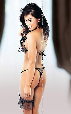 SoftLine Gianna Set Black Lady Style BH Ouvert String Transparent Schleier HOT