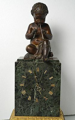 Antique 19th century French Figural Bronze & Marble Clock : Putto with Pipes 5