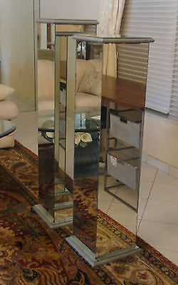 PAIR of MODERNIST 60s MIRRORED PEDESTALS ON SILVERED PLINTH