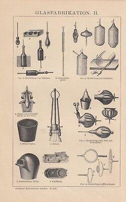 Lithografie 1898: GLASFABRIKATION I/II. Schmelzöfen Formgebung Glas-Industrie