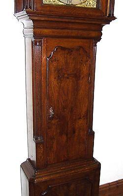~ Antique Brass Dial Burr / Pollard Oak Longcase Grandfather Clock MOSS FRODSHAM 7