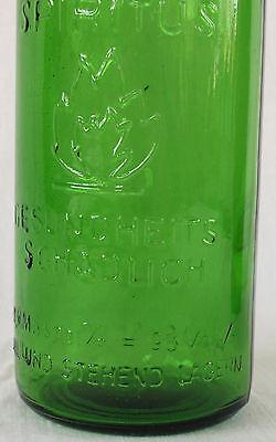 Flasche DDR alte Antik Glas Brenn Spiritus Feuergefährlich Feuer Flamme VEB Grün 2
