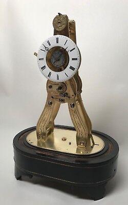 Pretty Miniature Scissor Frame Skeleton Clock With Alarm & Glass Dome Circa 1860 4