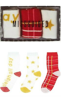 Ladies Girls 3 Pairs Missguided Patterned Cotton Socks Gift Boxed UK Size 4-8 2
