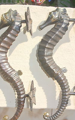 "2 small SEAHORSE solid brass door AGED old style house PULL handle 10"" pair B 8"