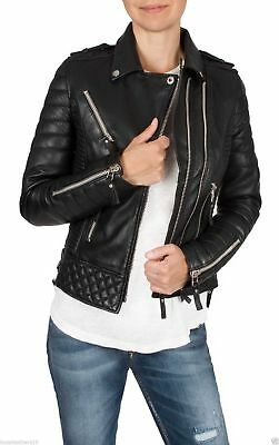 Ladies WOMEN/'S black slim fit Biker Diamante Trapuntato KAY Michaels LEATHER JACKET