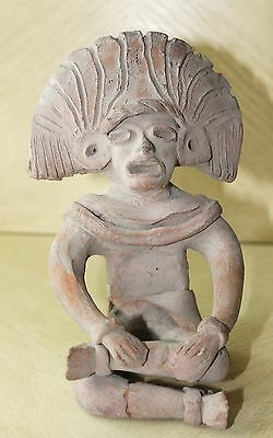 Vintage Art Pottery Pre-Columbian Male Sitting Figurine Statue Clay Old 5