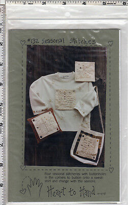 """©1997 UNCUT Heart to Hand Sewing Applique Pattern # 132 """"Seasonal Stitches"""" 5"""