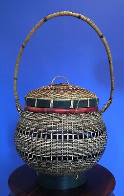 Antique Vintage Asian Hand Woven Basket w/ Handle & Lid - Chinese Japanese 3