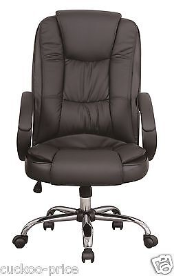 Black Luxury Swivel High Back PU Leather Executive PC Computer Desk Office Chair