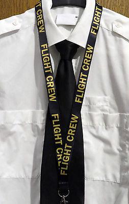 Lanyard FLIGHT CREW Black/Gold keychain neckstrap for pilot crew Lanyard