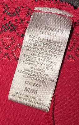 VTG Victoria's Secret Red Cotton Signature Print Lacy Cheeky Bikini Panties M 9