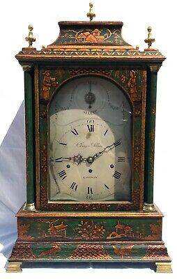 Antique Chinoiserie Green Laquered Triple Fusee Bracket Clock Chiming On 8 Bells 2