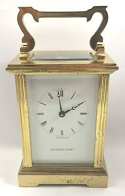 FRASER HART Brass Carriage Mantel Clock Timepiece with Key  Working Order 2
