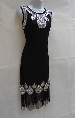 1920's Gatsby Vintage Charleston Sequin Tassel Flapper Dress Sizes 10 12 14 16