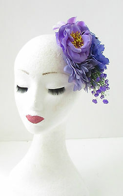 Purple Lilac Rose Peony Flower Fascinator Hair Clip Rockabilly Races Vintage 103 5