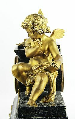 "ANTIQUE FRENCH HIGH QUALITY 19th CENTURY MANTEL BRONZE CUPID CLOCK 13"" TALL 11"