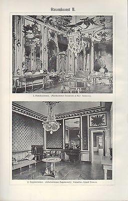 Licht-Drucke 1909: Raumkunst I/II. Raum Kunst Gotisches Rokoko-Empire-Zimmer