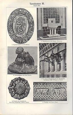 Chromo/Lithografien 1909 Terrakotten I-III. Mosaik Terrakotta Stein Marmor Farbe 3