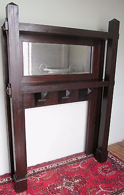 Antique Rare Mission Oak Arts & Crafts Mantle In Fumed Original Finish 6